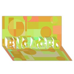 Green And Orange Decorative Design Engaged 3d Greeting Card (8x4)