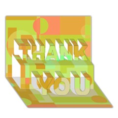 Green and orange decorative design THANK YOU 3D Greeting Card (7x5)