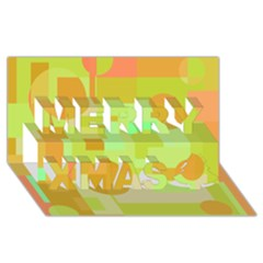 Green And Orange Decorative Design Merry Xmas 3d Greeting Card (8x4)
