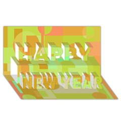 Green and orange decorative design Happy New Year 3D Greeting Card (8x4)
