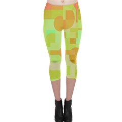 Green and orange decorative design Capri Leggings
