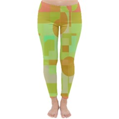 Green and orange decorative design Winter Leggings
