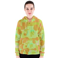 Green And Orange Decorative Design Women s Zipper Hoodie