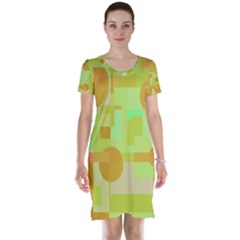 Green and orange decorative design Short Sleeve Nightdress