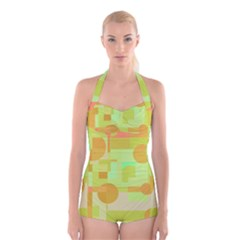 Green and orange decorative design Boyleg Halter Swimsuit