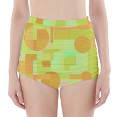 Green and orange decorative design High-Waisted Bikini Bottoms