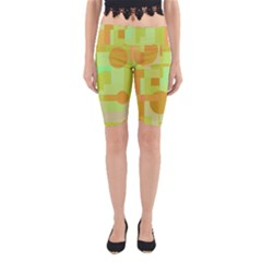 Green And Orange Decorative Design Yoga Cropped Leggings