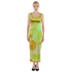 Green and orange decorative design Fitted Maxi Dress