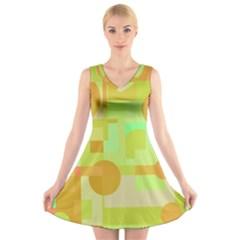 Green and orange decorative design V-Neck Sleeveless Skater Dress