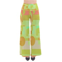 Green and orange decorative design Pants