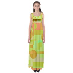 Green And Orange Decorative Design Empire Waist Maxi Dress