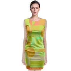 Green And Orange Decorative Design Classic Sleeveless Midi Dress