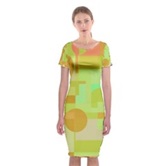 Green And Orange Decorative Design Classic Short Sleeve Midi Dress