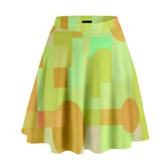 Green And Orange Decorative Design High Waist Skirt