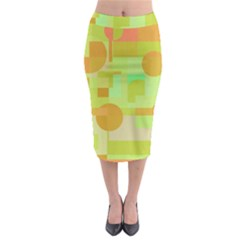 Green And Orange Decorative Design Midi Pencil Skirt