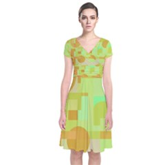 Green and orange decorative design Short Sleeve Front Wrap Dress