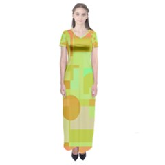 Green and orange decorative design Short Sleeve Maxi Dress