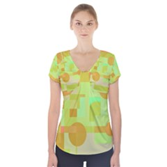 Green And Orange Decorative Design Short Sleeve Front Detail Top