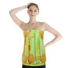 Green and orange decorative design Strapless Top