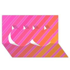 Pink elegant lines Twin Hearts 3D Greeting Card (8x4)
