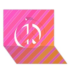 Pink elegant lines Peace Sign 3D Greeting Card (7x5)