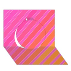Pink elegant lines Circle 3D Greeting Card (7x5)