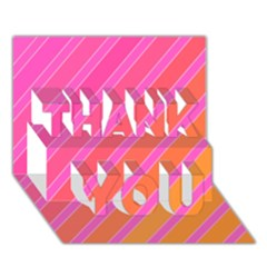 Pink elegant lines THANK YOU 3D Greeting Card (7x5)