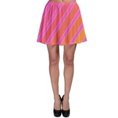 Pink elegant lines Skater Skirt