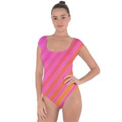 Pink elegant lines Short Sleeve Leotard