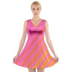 Pink elegant lines V-Neck Sleeveless Skater Dress