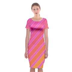 Pink Elegant Lines Classic Short Sleeve Midi Dress