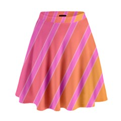 Pink Elegant Lines High Waist Skirt