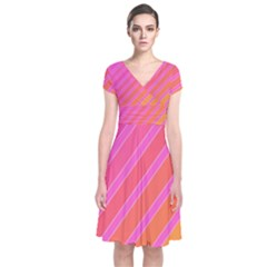 Pink Elegant Lines Short Sleeve Front Wrap Dress