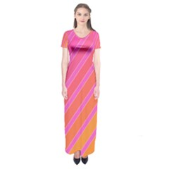 Pink Elegant Lines Short Sleeve Maxi Dress