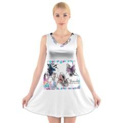 Picmix Com 5004827 V Neck Sleeveless Skater Dress