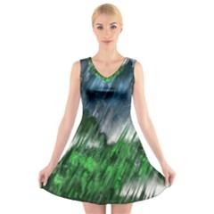 Bluegreen V-Neck Sleeveless Skater Dress