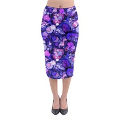 Blue Ink Rain on Glass Midi Pencil Skirt