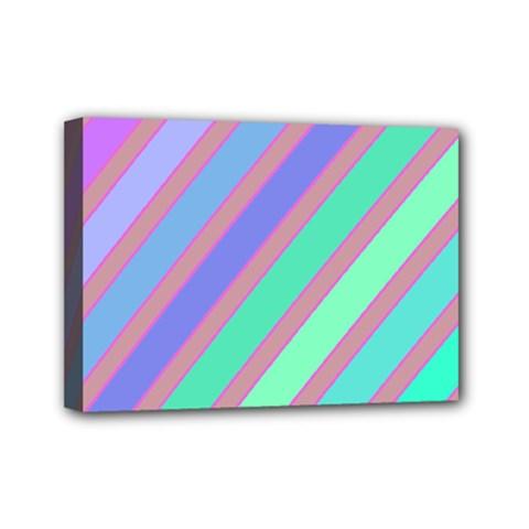 Pastel colorful lines Mini Canvas 7  x 5