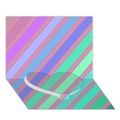 Pastel colorful lines Heart Bottom 3D Greeting Card (7x5)
