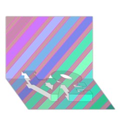 Pastel Colorful Lines Love Bottom 3d Greeting Card (7x5)