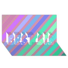 Pastel colorful lines BEST SIS 3D Greeting Card (8x4)