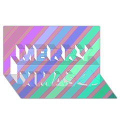 Pastel colorful lines Merry Xmas 3D Greeting Card (8x4)