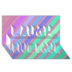 Pastel colorful lines Laugh Live Love 3D Greeting Card (8x4)