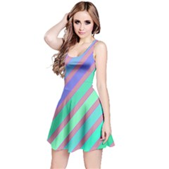 Pastel colorful lines Reversible Sleeveless Dress