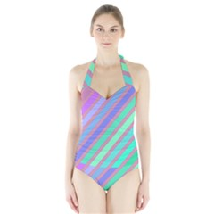 Pastel Colorful Lines Halter Swimsuit