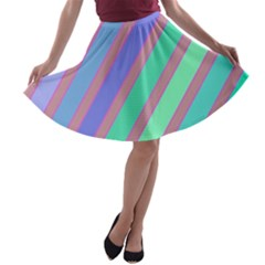 Pastel colorful lines A-line Skater Skirt
