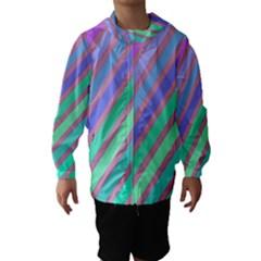 Pastel colorful lines Hooded Wind Breaker (Kids)