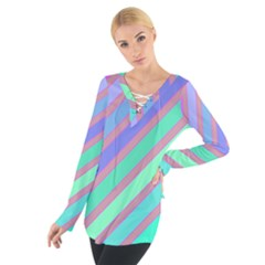 Pastel colorful lines Women s Tie Up Tee