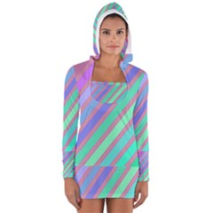 Pastel colorful lines Women s Long Sleeve Hooded T-shirt