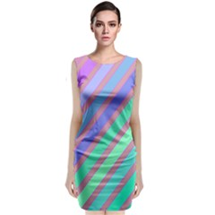 Pastel Colorful Lines Classic Sleeveless Midi Dress